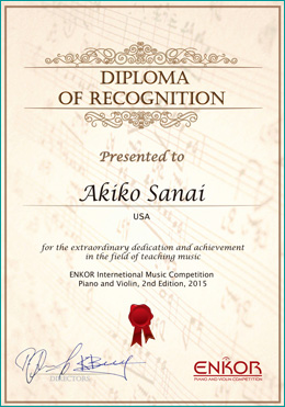 Diploma of Recognition from ENKOR International Music Competition
